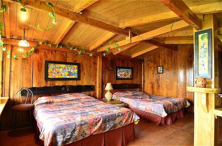 Juayua's rustic bedroom with amazing view