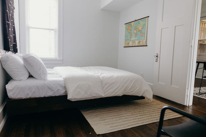 Amazingly cozy guest bedroom, with full size closet.