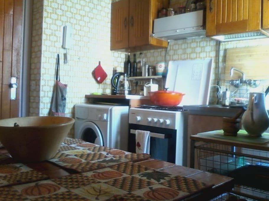 La cocina es familiar y esta equipada con   electrodomésticos básicos, no tenemos microondas.