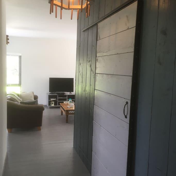 Sliding barn door to your bedroom.