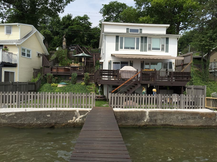 Lake view of the house.  Easy access to & from the lake.