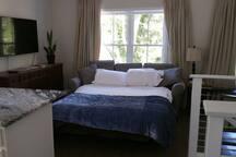View of sleeper sofa when setup.