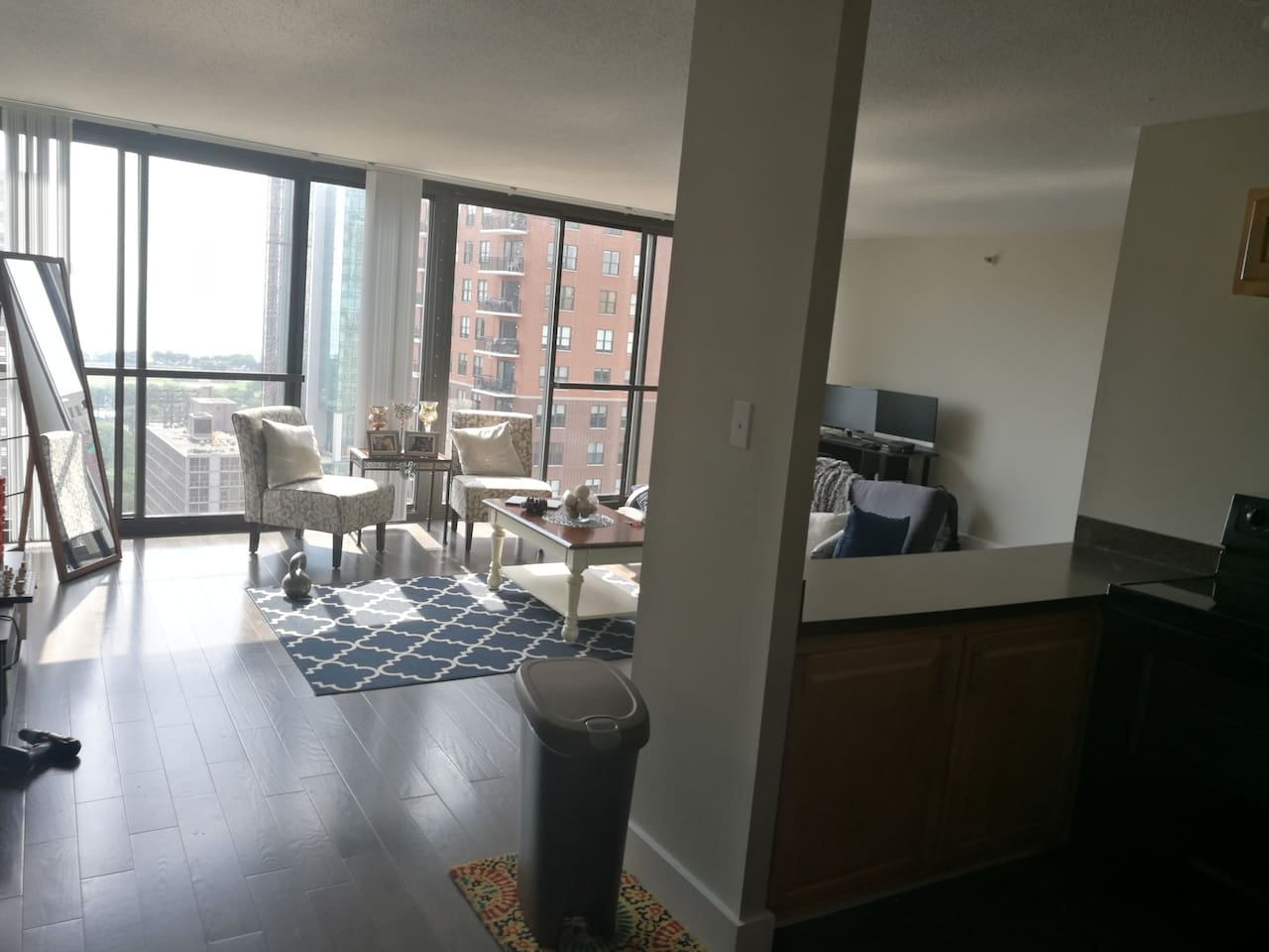 HUGE living room, terrific natural light. Floor to ceiling windows. Great for hosting guests when they visit you downtown!