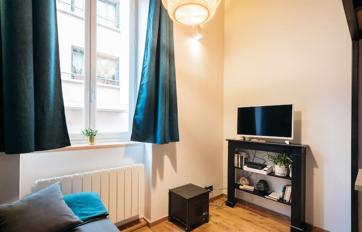 Bright living room with a flat screen TV