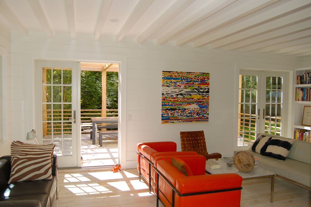 Living room showing deck