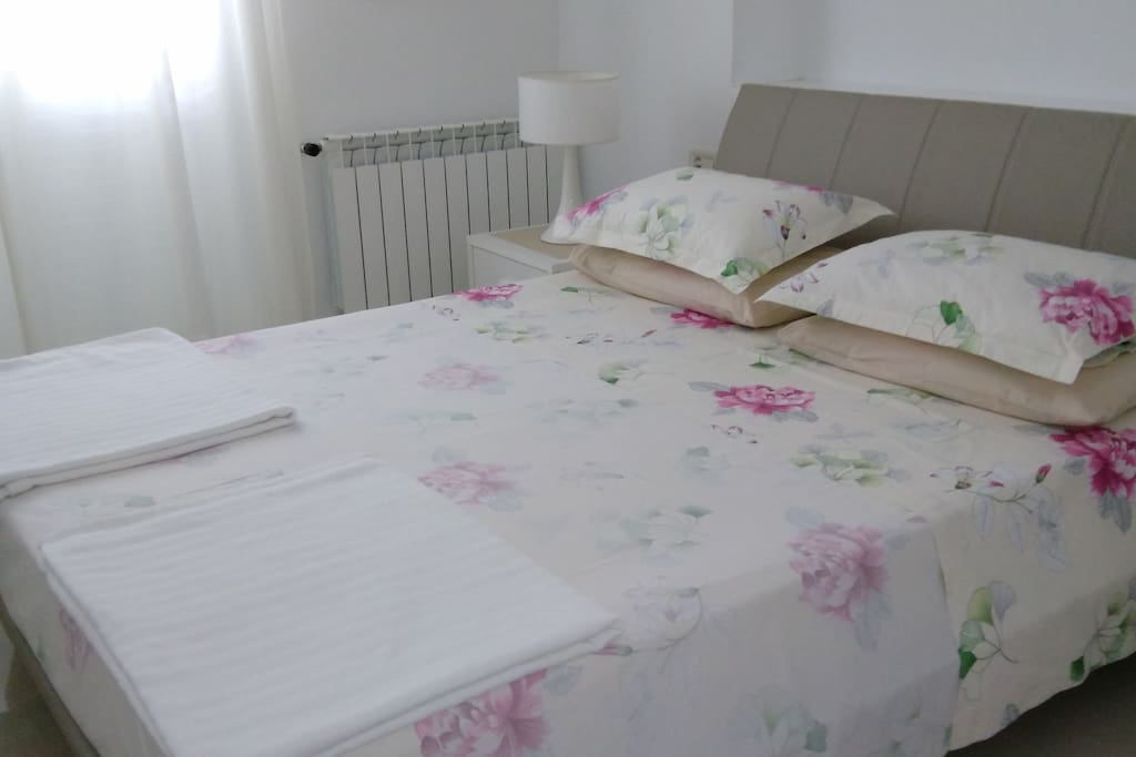 Double bed with French windows