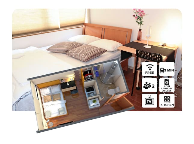 #2C Private Apartment 1 stop from Namba station! - Osaka - Apartment