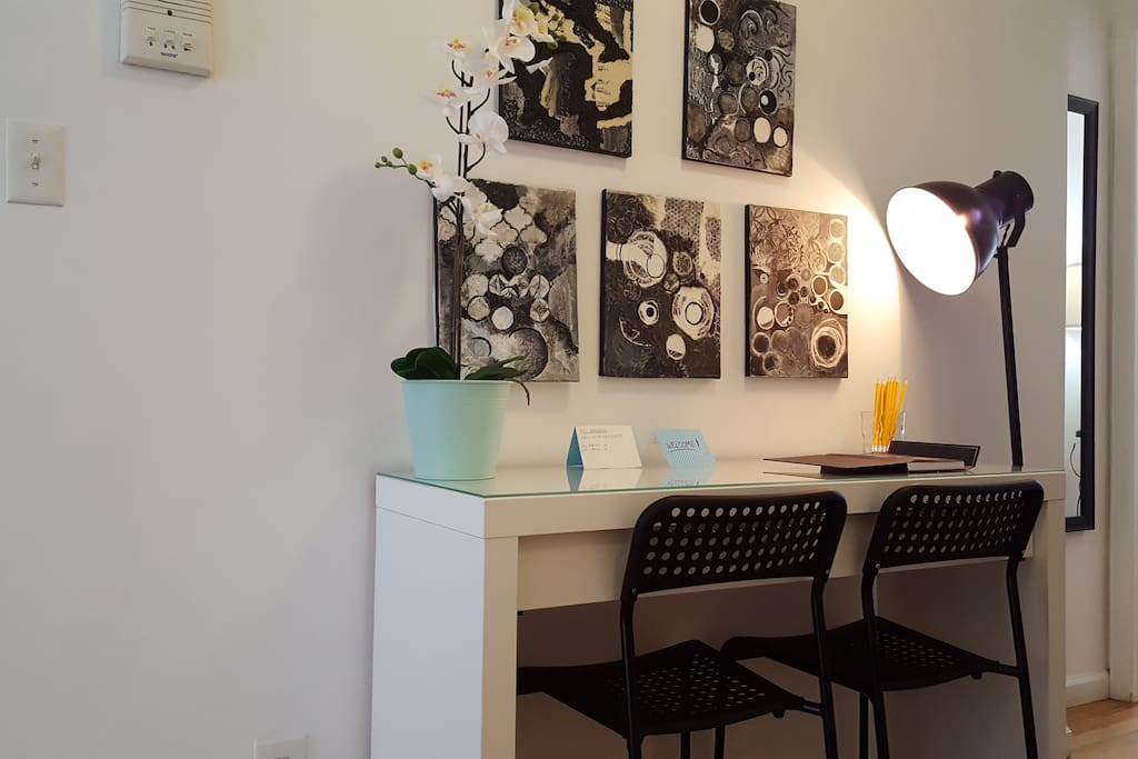 Laptop workspace and  desk with wifi, easy and efficient. Also art supplies to express your creative side.