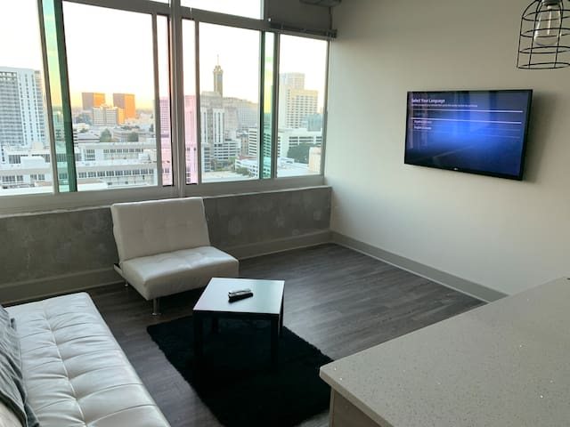 Downtown Deluxe Highrise w/Queen bd + wifi