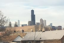 View of the Chicago skyline from back porch and kitchen