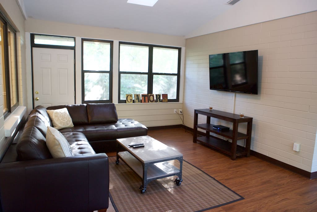 Florida Room Showing Large Screen TV