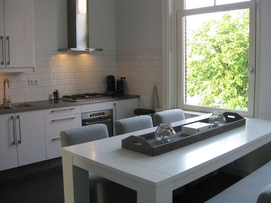 Fully equipped kitchen with two large windows & magnificent view