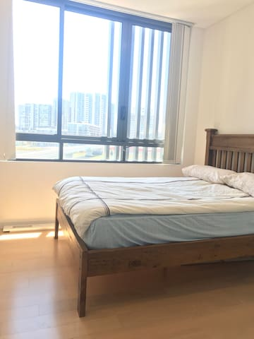 Double bed in your bright room