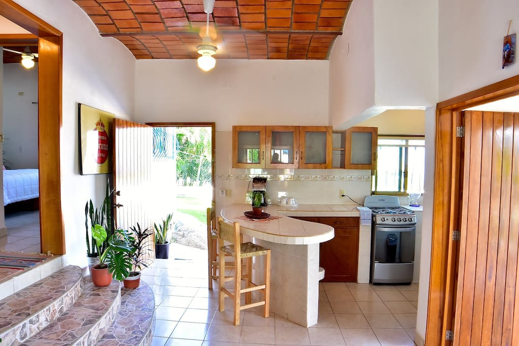 Kitchen and both doors.
