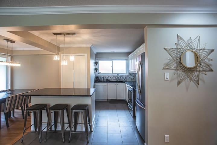 Bright, open kitchen and living area.