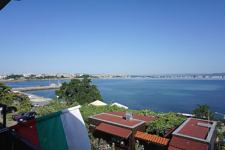 View from the balcony - to the left, there is a small yacht port and the new part of Nessebar