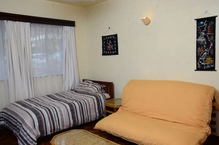 The Beige Room is among three private rooms in a tidy, neat, comfortable apartment that offers bed and breakfast, free Wifi, TV, Pool, Washing Machine, kitchen fitted with electric and gas cookers, microwave, fridge, freezer and a qualified Chef.