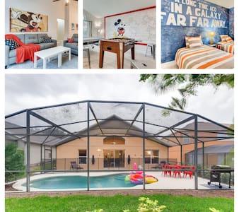 Single Level Luxury POOL Home 3  miles to Disney
