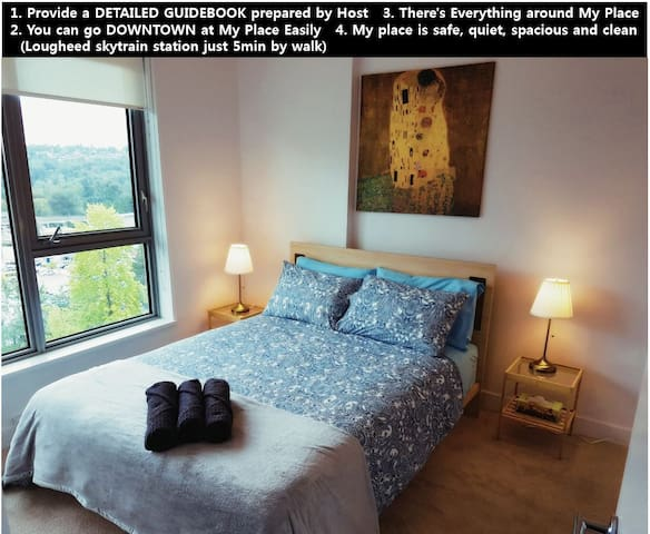 New ~!! 2bed 2bath Free parking Lougheed Cozy Room