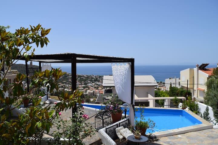 Saronida Sea view with pool