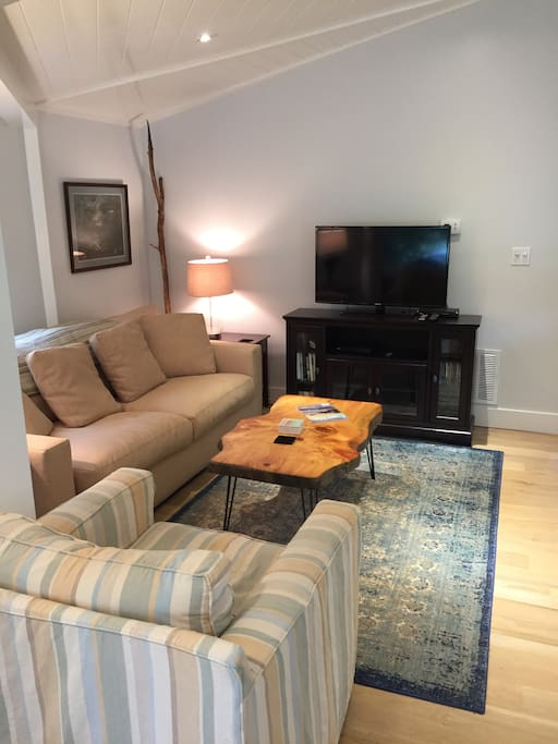 living room area, TV has full cable, on demand, netflix, DVD player