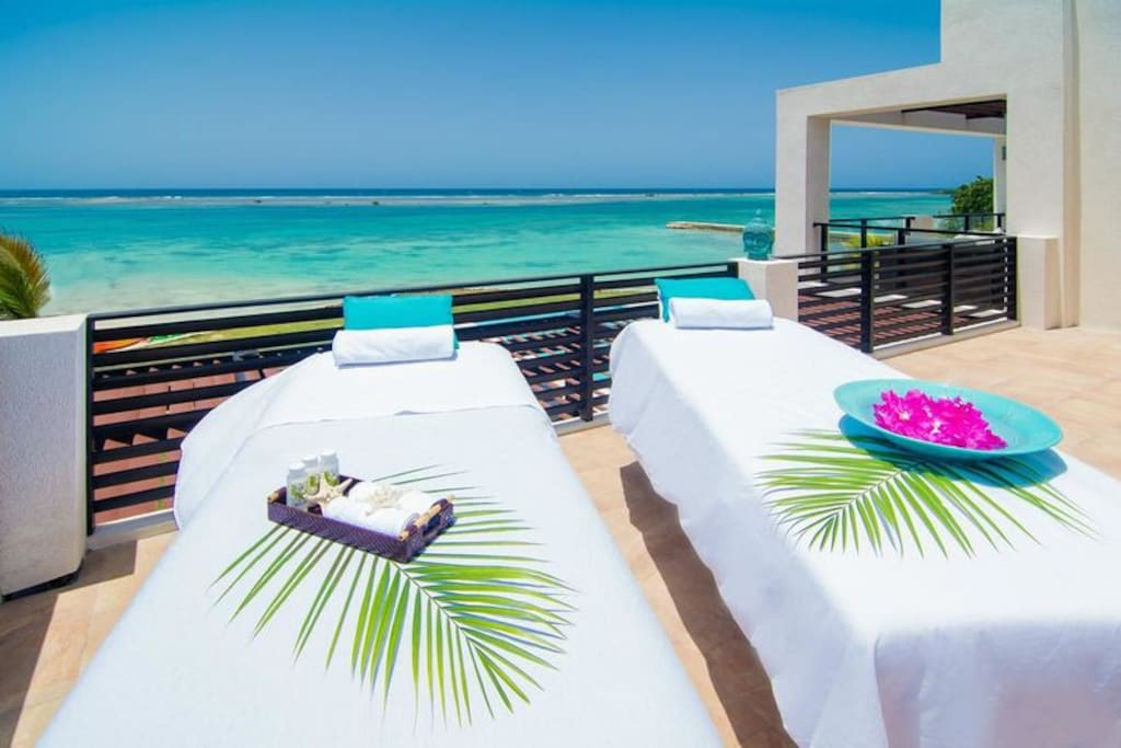 Massages on the top balcony deck where the views are awesom!