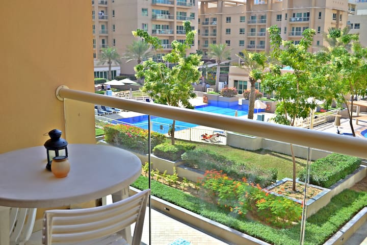 Spacious 1BR Apt. with terrace and pool view
