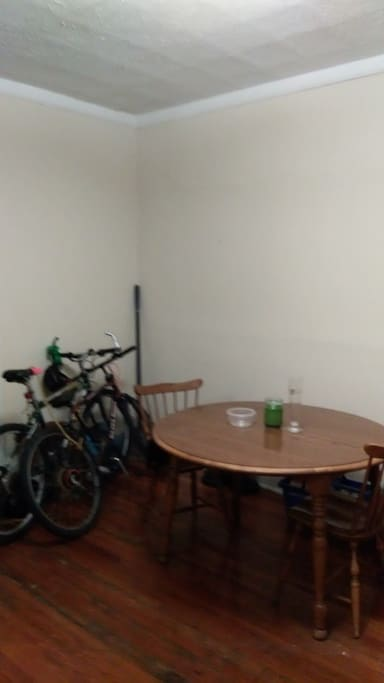 My dining room table and bikes to ride into downtown Cleveland