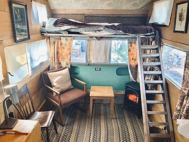 Rustic Permaculture Vintage Camper in Urban Garden