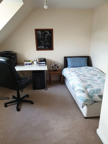 Large Sunny Single room with desk, shared bathroom