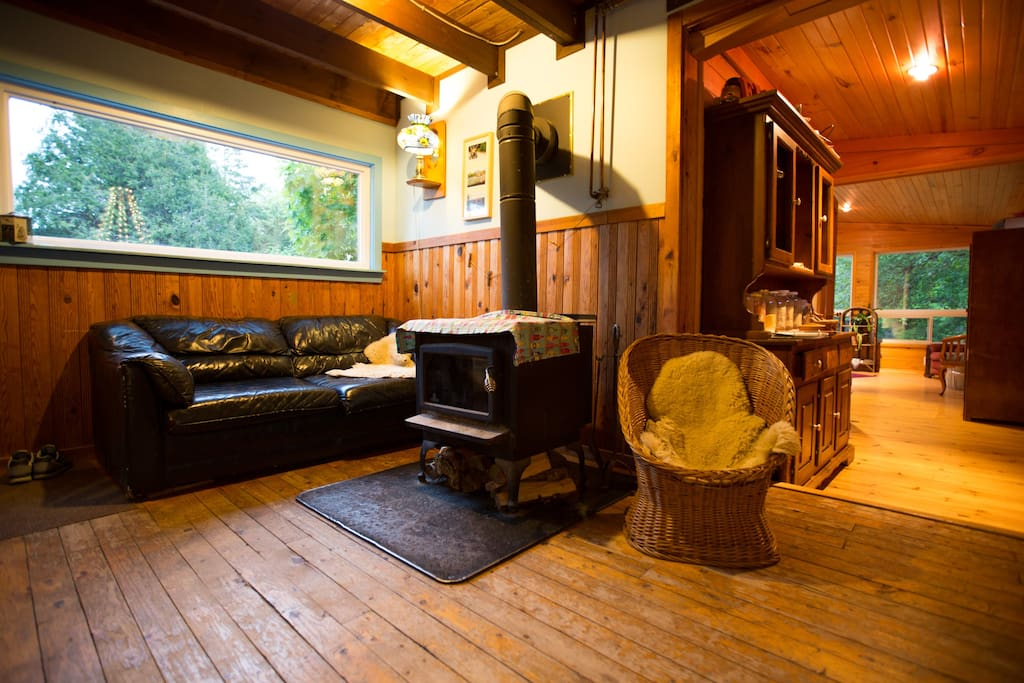 Cozy up on a sheepskin next to the woodstove
