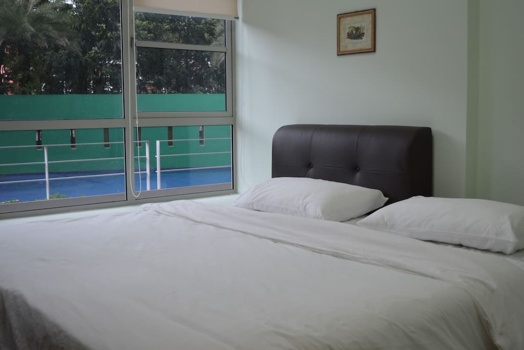 Super Single+Single (198cm x 191cm)  (Quite a big bed; enough for 2 adults and 1 child)