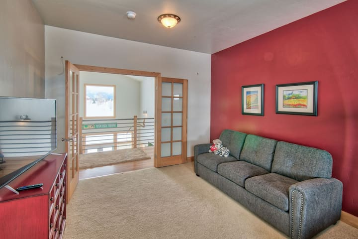 The loft room offers a pull out couch and TV.