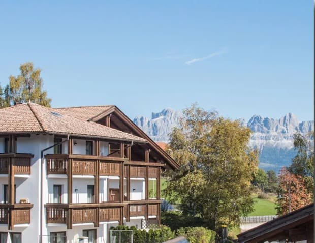 """Cosy Holiday Apartment """"Feldhof Mountains Latemar 112-2p"""" with Wi-Fi, Garden & Wellness Area; Parking Available, Pets Allowed"""
