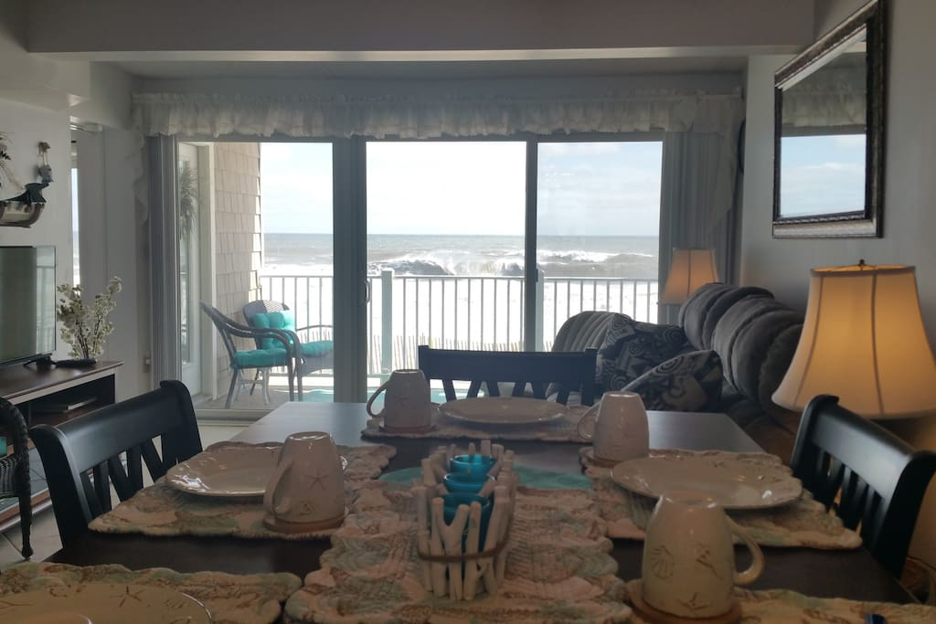 Terrific oceanfront view from the dining room!