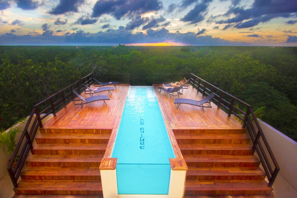 the biggest, the highest and the most spectacular sky deck in tulum. enjoy the infinity glass wall pool and have a massage in the jacuzzi while enjoying the amazing sunset view.
