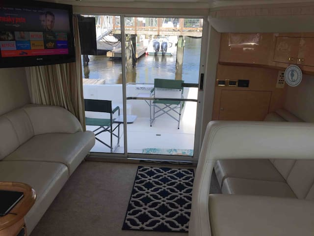 Salon area with 2 couches and TV with wifi