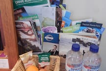 On your desk there is Tourist information, water and snacks for you!