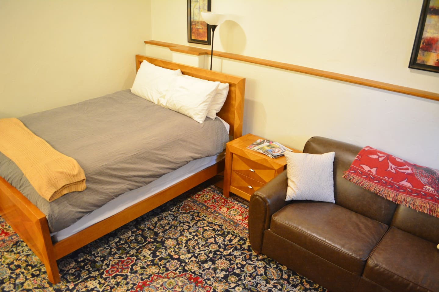 Queen size bed with sofa sleeper (full sized pull out).