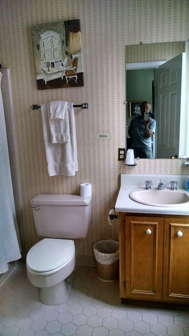 Full private bathroom of Room B