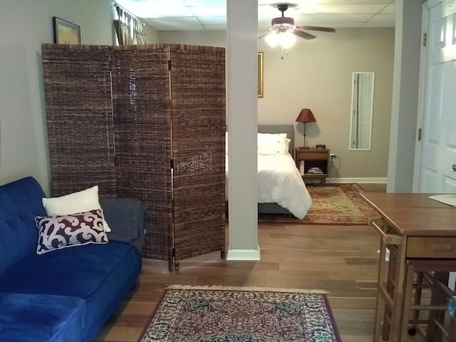 The guest suite includes a living room  with a sofa, small table, and room divider that separates the space from the bedroom. There is a hallway with a bathroom. Guests have a separate entrance with a unique key code. All guest spaces are private.