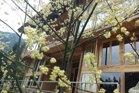 """碧城""""群山之心""""诗歌山居艾略特房:有藏书与大玻璃墙的山景房 - Qiannan - Casa"""