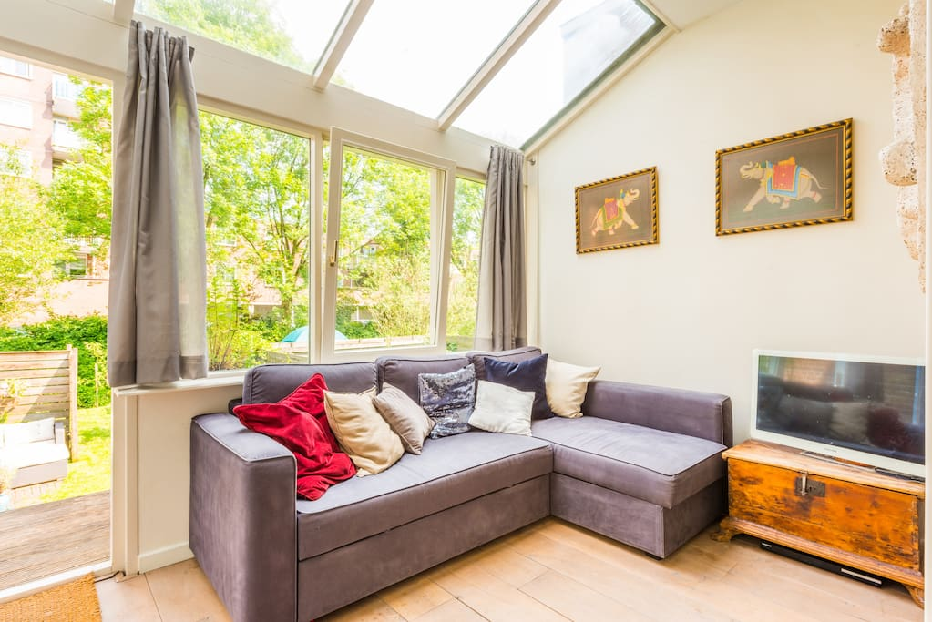 Cozy living room with view of garden