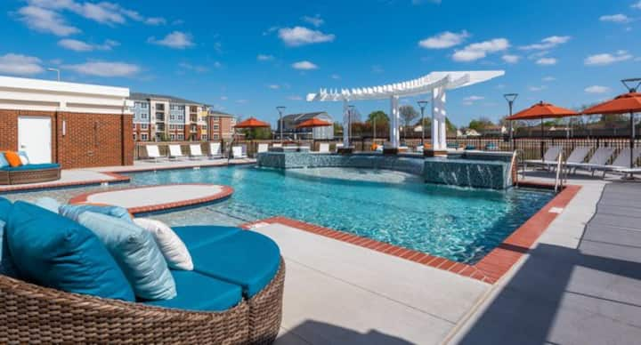 Resort style community w/access to gym and club.