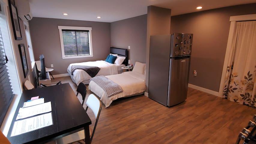Studio setup with futon as a bed