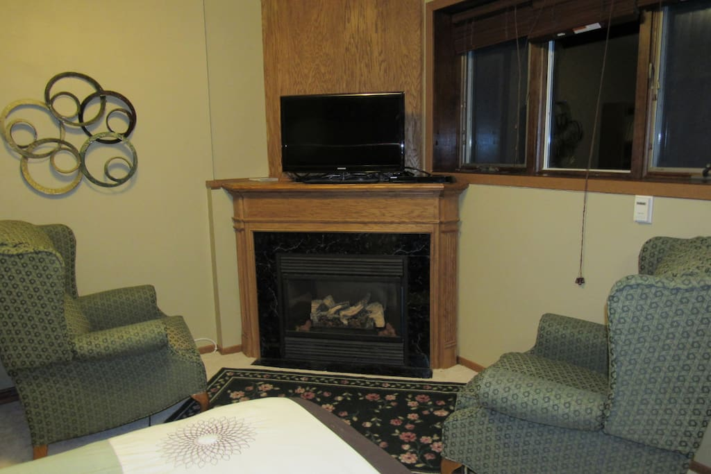 Gas Fireplace with TV and view of garden outside the windows
