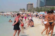 Jumeirah Beach can get pretty crowded in season and western beach wear/bikinis/speedos etc are absolutely fine for ladies and gents. No drinking or smoking on the beach though.