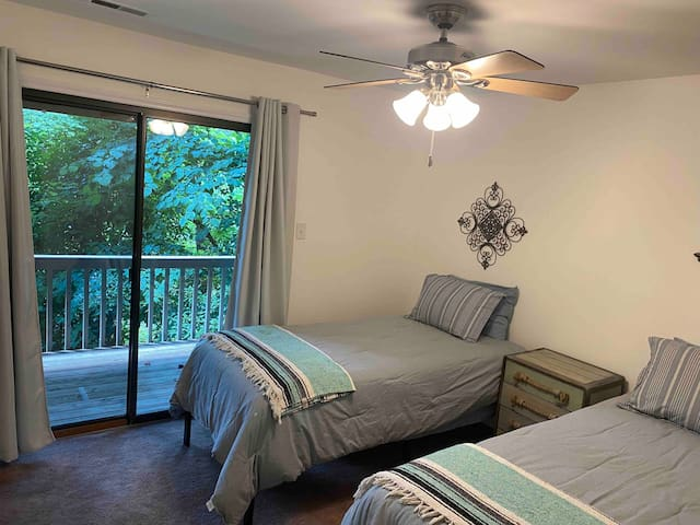 guest bedroom with 2 brand new xl twins