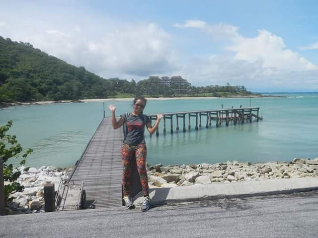 Your Host 'Pat' at fishing pier on beach