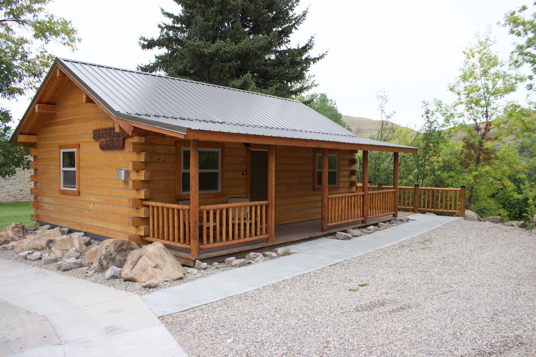 The Belt Creek Cabin - the Belt Creek runs along the back side of the cabin.